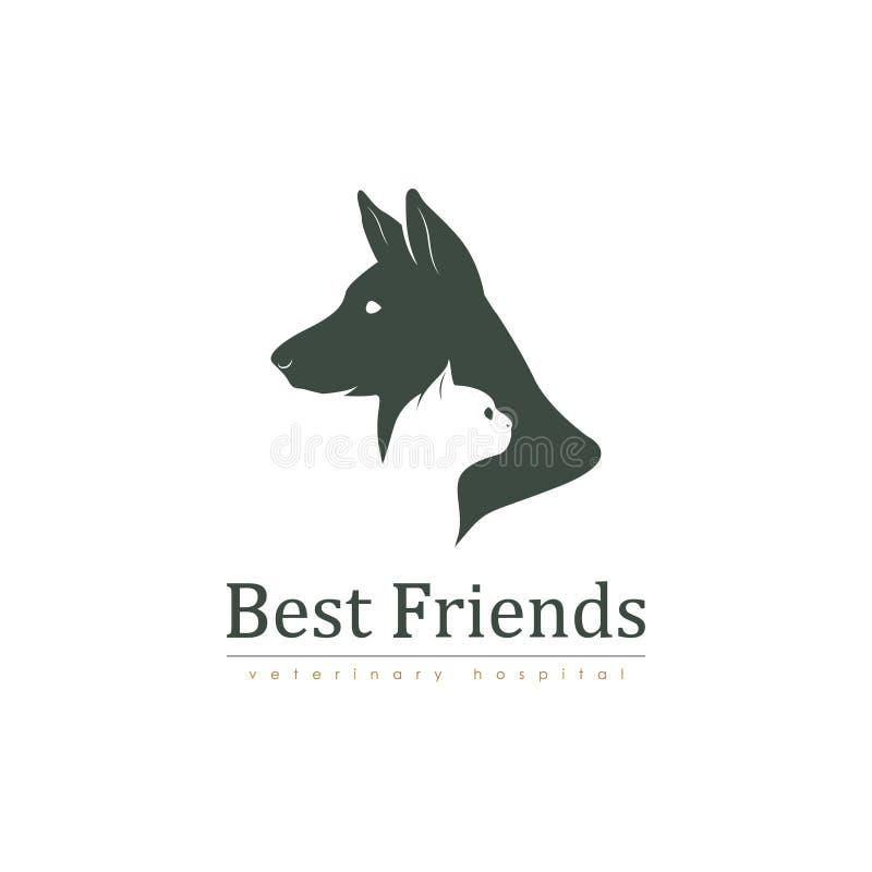 Embleemmalplaatje voor veterinaire kliniek met kat en hond royalty-vrije illustratie