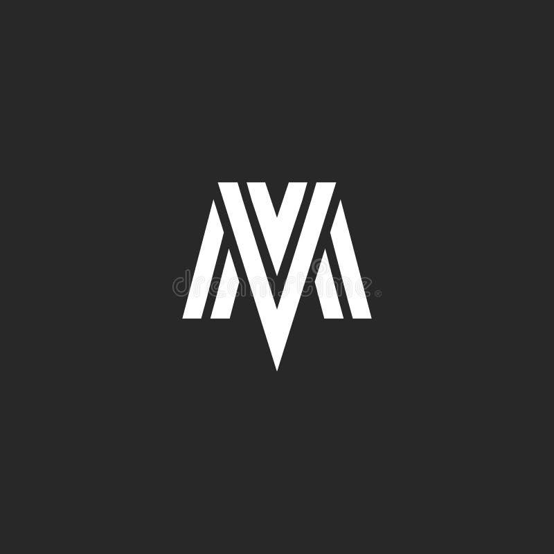 Embleemmv paraferen het brieven elegante monogram, combinatie M en V, die lineair symbolenvm tekenconcept overlappen stock illustratie