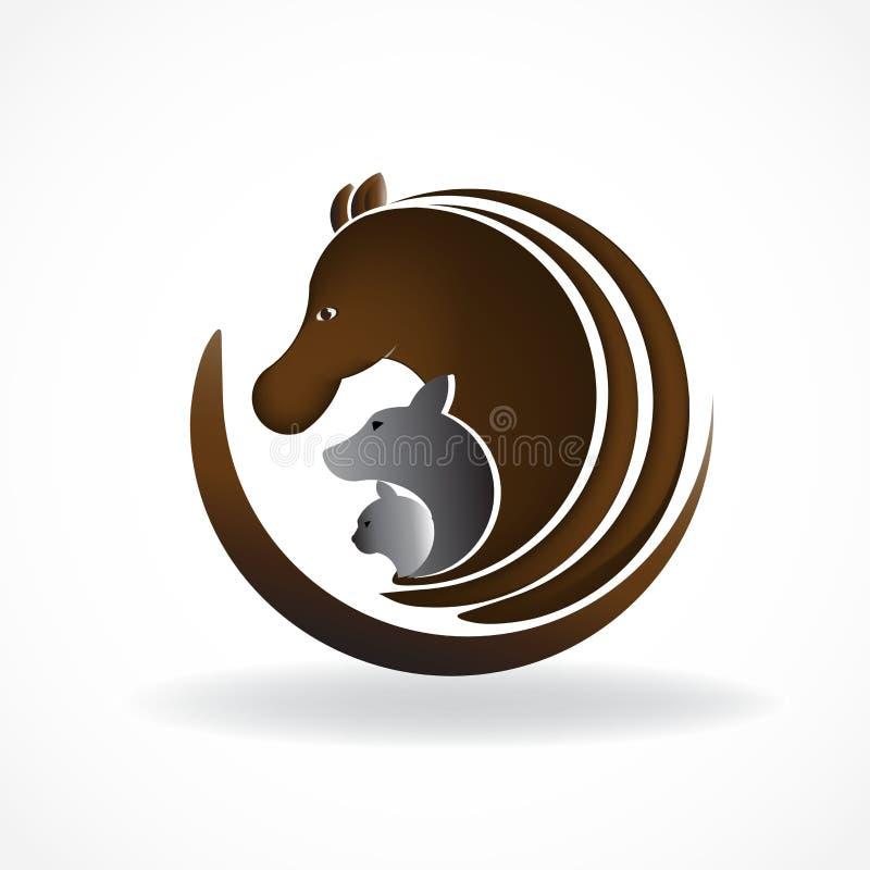 Embleempaard, hond en kat Dierlijk van het het identiteitskaartsymbool van het huisdieren vectorbeeld het etiketbeeld logotype vector illustratie