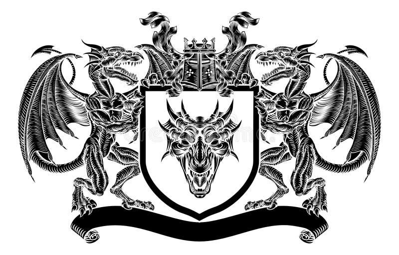 Embleemschild Dragon Heraldic Crest Coat van Wapens royalty-vrije illustratie