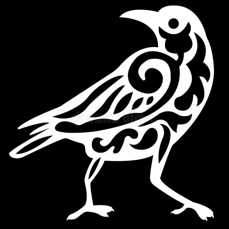 Embleemsilhouet van een raafvogel in wit met een patroon van krullen binnen zwarte op een zwarte achtergrond royalty-vrije illustratie