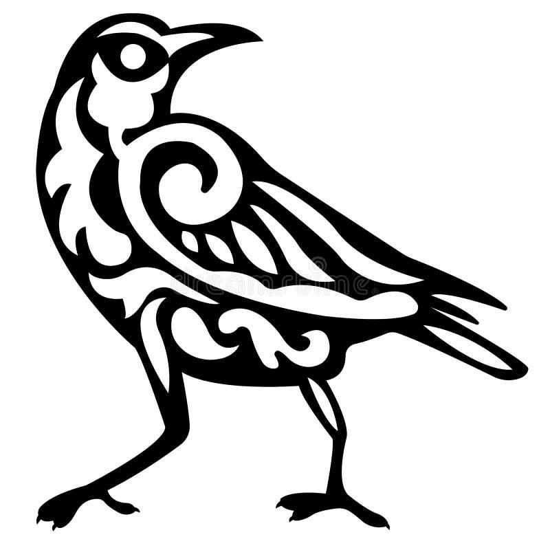 Embleemsilhouet van een raafvogel in zwarte met een krulpatroon binnen wit royalty-vrije illustratie