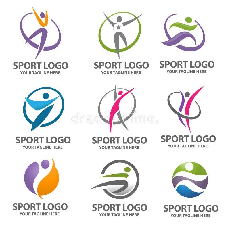 Embleemsport en fitness vectorreeks vector illustratie