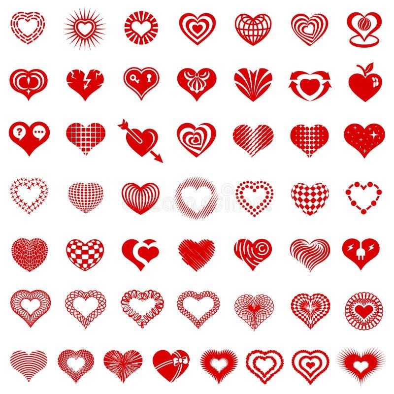 Embleemtypes van de hartvorm geplaatste pictogrammen, eenvoudige stijl royalty-vrije illustratie