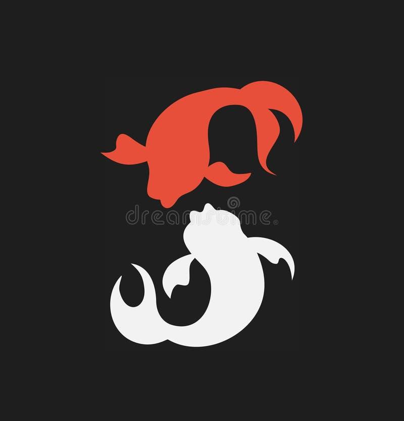 Embleemvector met paar van vissensilhouetten Geïsoleerd pictogram, teken, logotype concept, bedrijfidentiteit, stijl vector illustratie