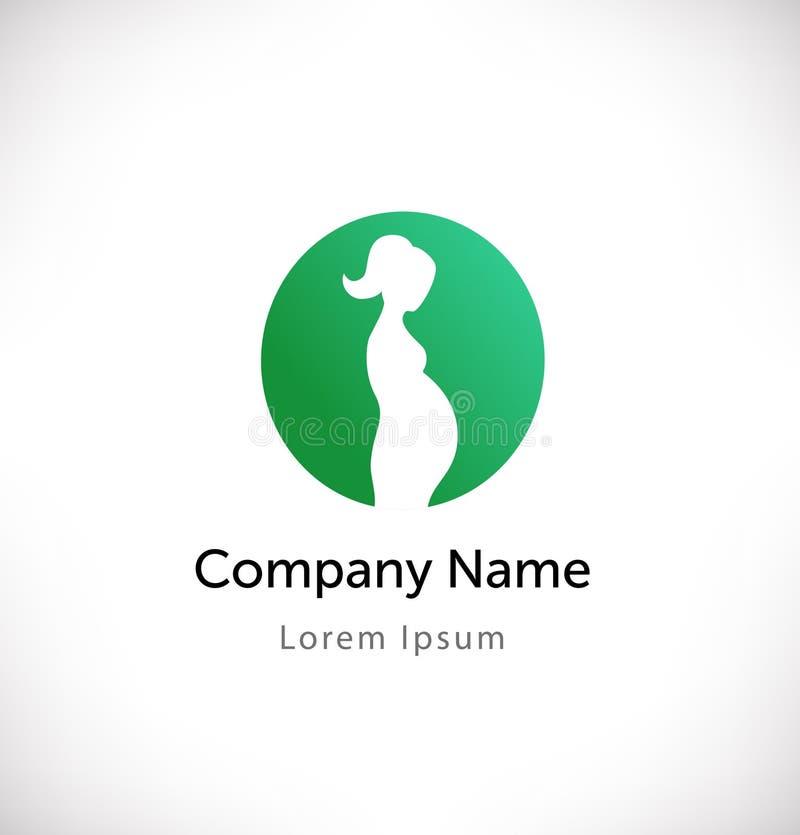 Embleemvector met zwanger vrouwensilhouet Geïsoleerd pictogram, teken, logotype concept stock illustratie