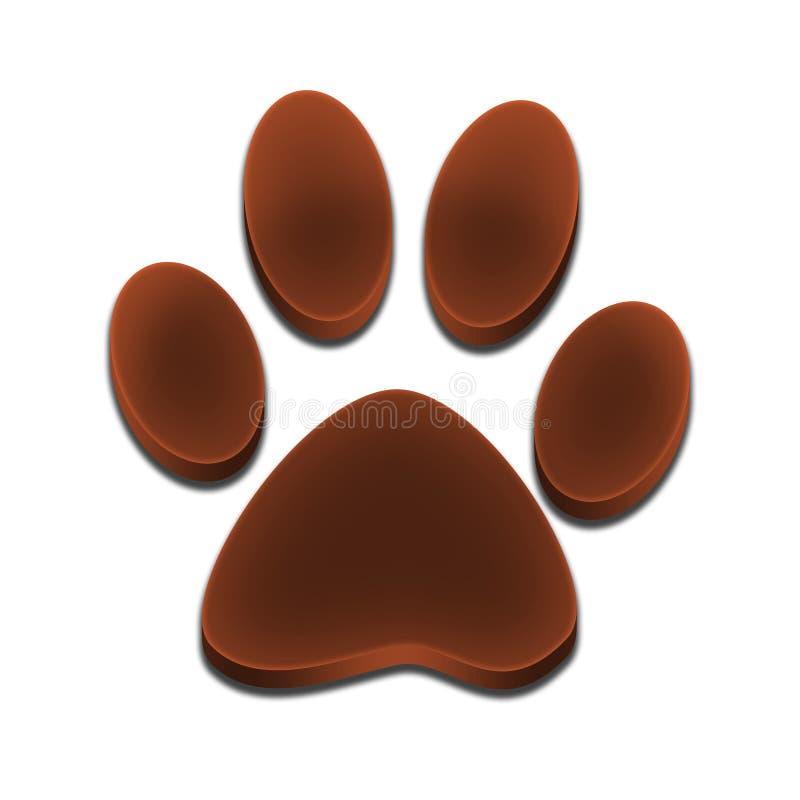 Embleemvoetafdruk van hond 3d bruine kleur stock foto