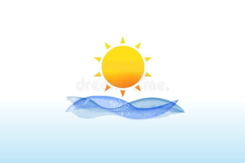 Embleemzon en van de golvenwaterverf vector vector illustratie
