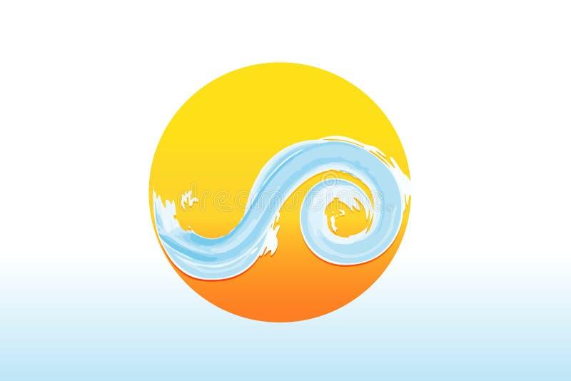 Embleemzon en van de golvenwaterverf vector royalty-vrije illustratie