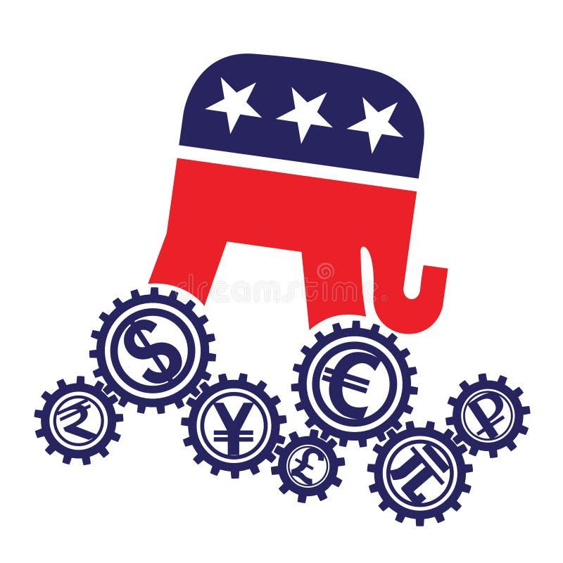 Emblem av republikanska partiet av USA- och världsvalutorna vektor illustrationer