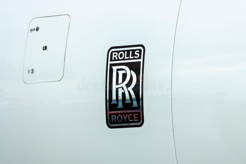 Emblem av Rollset Royce på motorn av Trenten XWB av flygbussen A350 XWB för sned boll-kropp stråltrafikflygplan arkivfoto