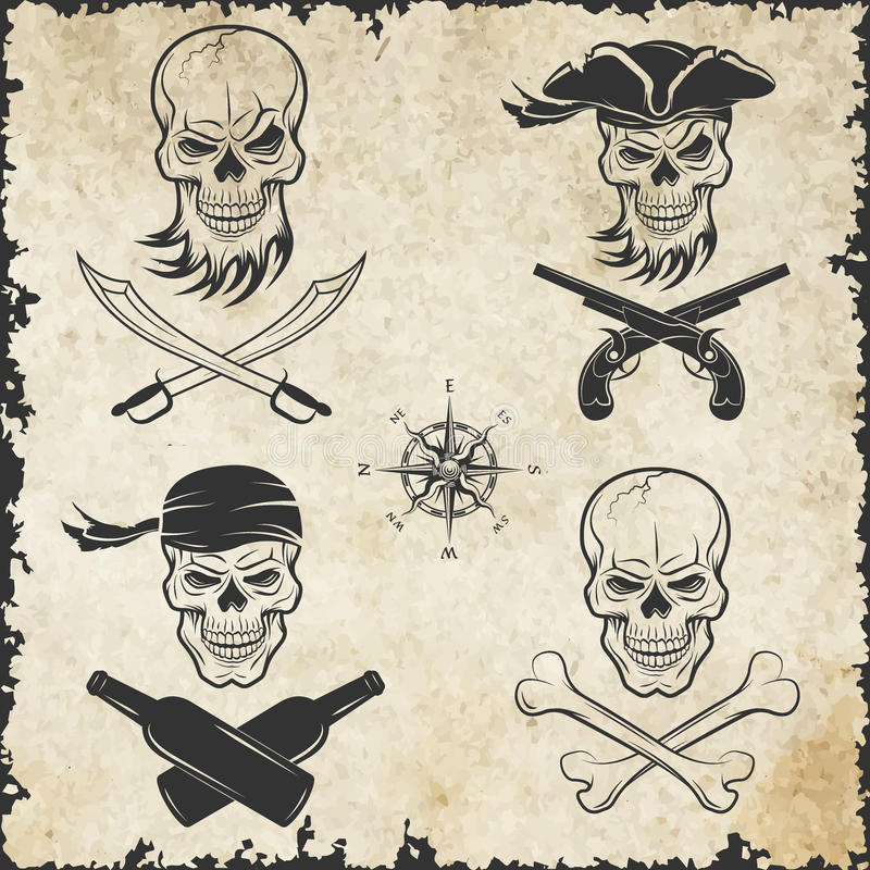 Emblem av skallar på piratkopieratemat stock illustrationer