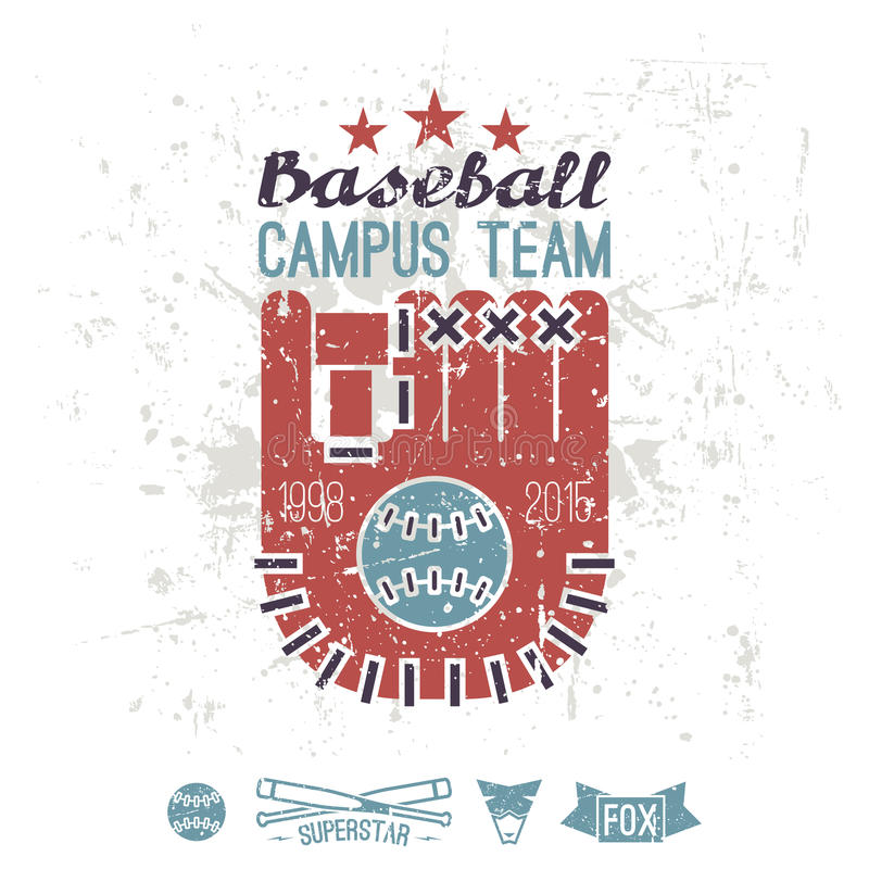 Emblem baseball campus team. Graphic design for t-shirt. Color print on a white background stock illustration