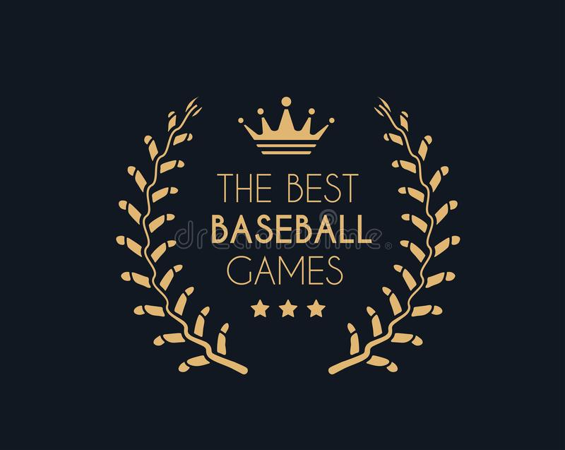 Emblem for the best baseball games consisting of a wreath of baseball laces and crown. Vector vector illustration