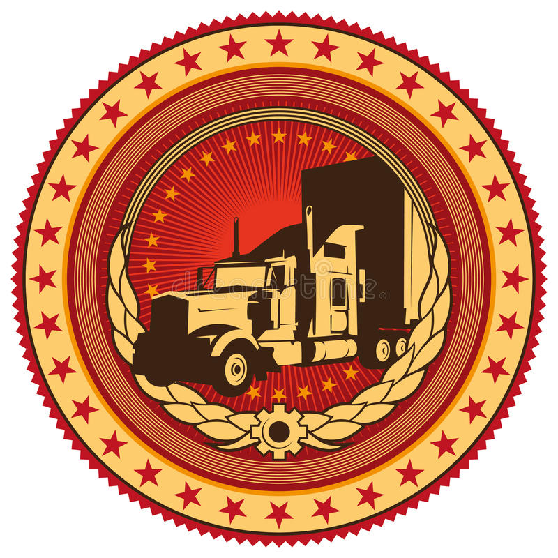 Download Emblem with big truck. stock vector. Illustration of abstract - 18977082