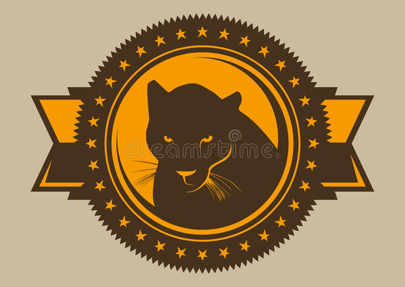 Emblem with black panther. stock illustration
