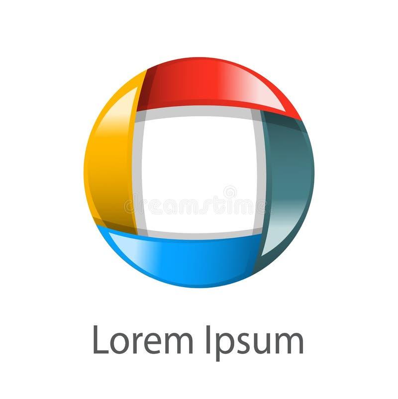 Emblem circle different colors. Emblem of a bright shiny circle of different colors on a white background vector illustration