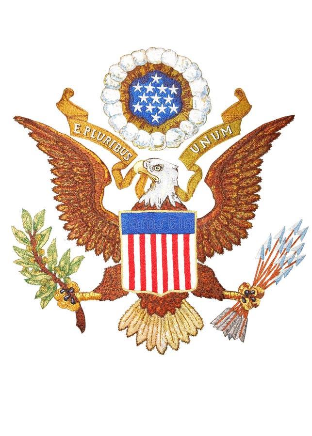 emblem broderi vita isolerade USA royaltyfri illustrationer