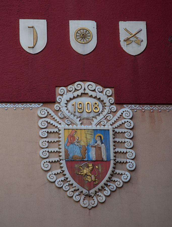 Emblem on a building wall of a city of Subotica, Serbia.  stock photo