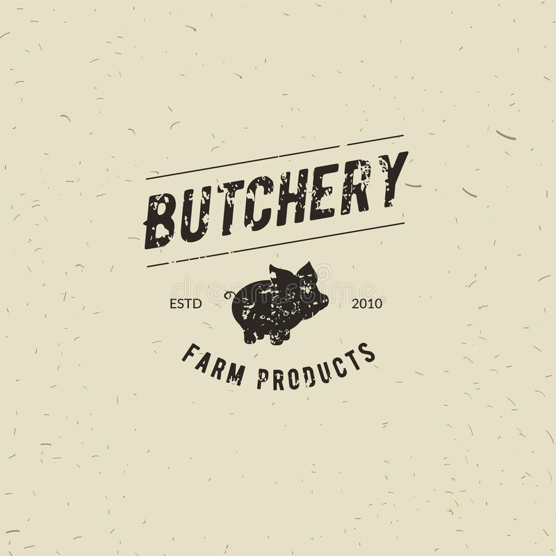 Emblem of Butchery meat shop with Pig silhouette, text The Butchery, Fresh Meat, farm products. Logo template for meat. Business - farmer shop, market stock illustration