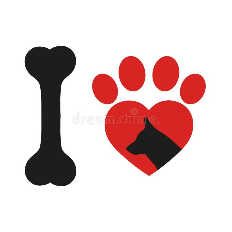 Emblem der Liebe, Hundegesicht mit rotem Herzen über Vektorikone, Schattenbildzeichen, Haustiersymbol lizenzfreie abbildung