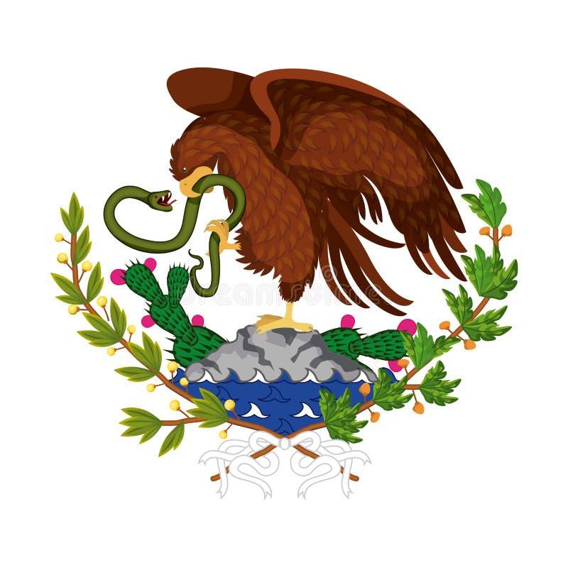 Emblem der mexikanischen Flagge des bunten Schattenbildes des Adlers mit Schlange in der Spitze über Felsen und Anlage des Kaktus vektor abbildung