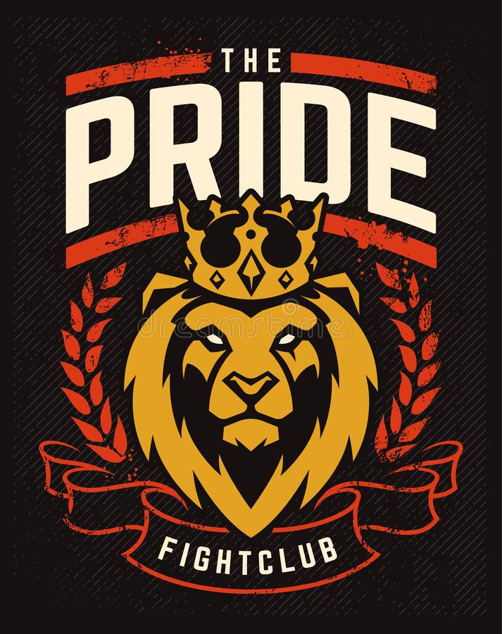 Emblem Design with Lion in Crown. Emblem design template with lion in crown looking danger. Grunge art with wreath and ribbon elements. Classic style. Vector vector illustration