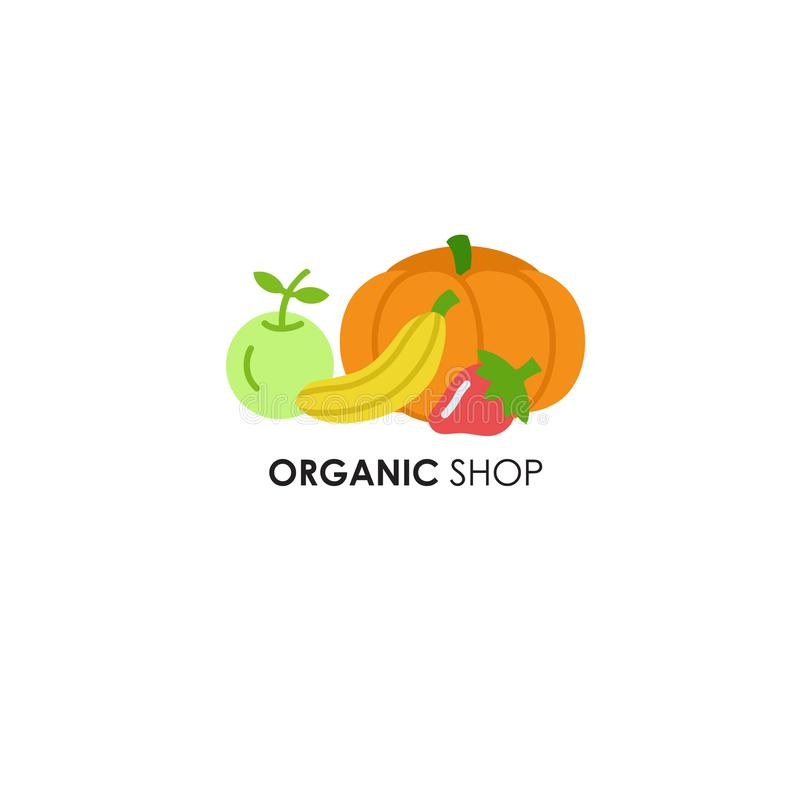 Emblem design template in flat icon style for organic products royalty free stock photos