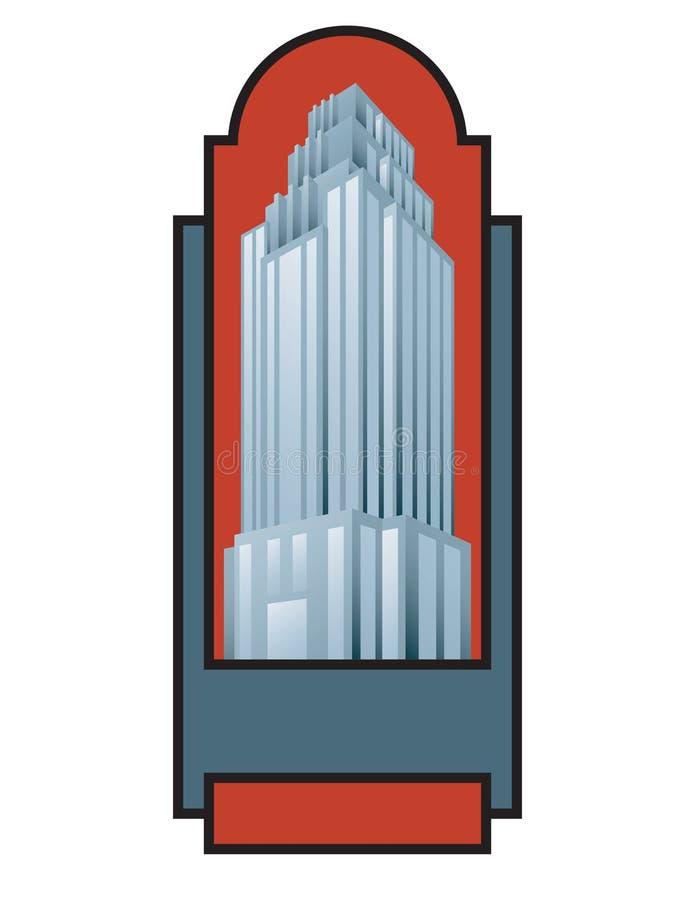 Emblem eller emblem för illustration för skyskrapabyggnadsvektor royaltyfri illustrationer