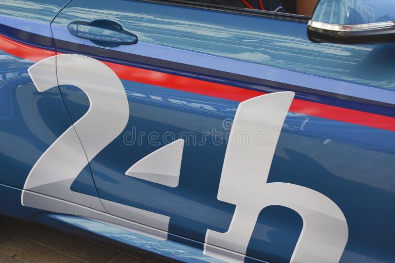 Emblem eller symbol av de berömda loppen 24 timmar av Le Mans arkivfoton