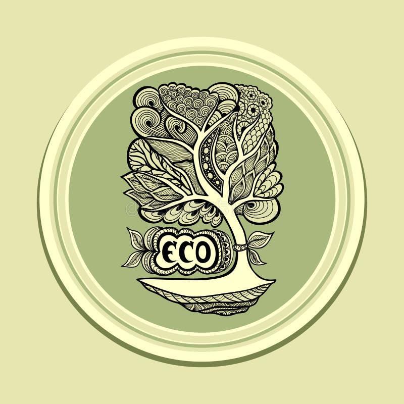 Emblem eller symbol med grön oliv för Zen-tova träd royaltyfri illustrationer
