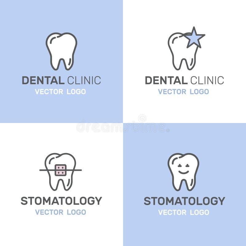 Emblem eller tandvård och sjukdom, behandlingbegrepp, tandbotortodonti, Stomatology och Med Clinic royaltyfri illustrationer