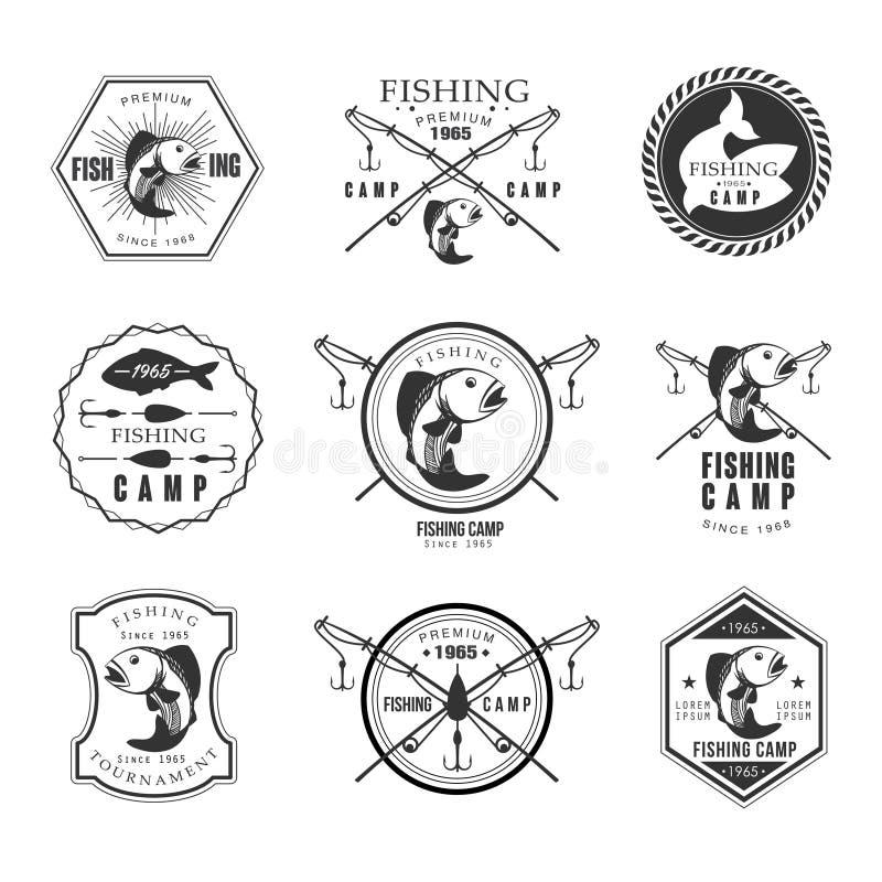 Emblem, etiketter och design för tappningpikfiske vektor illustrationer