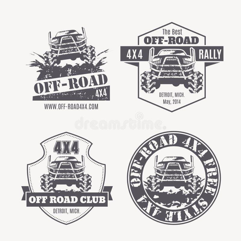 emblem, etiketter och logoer för Av-väg medelvektor royaltyfri illustrationer