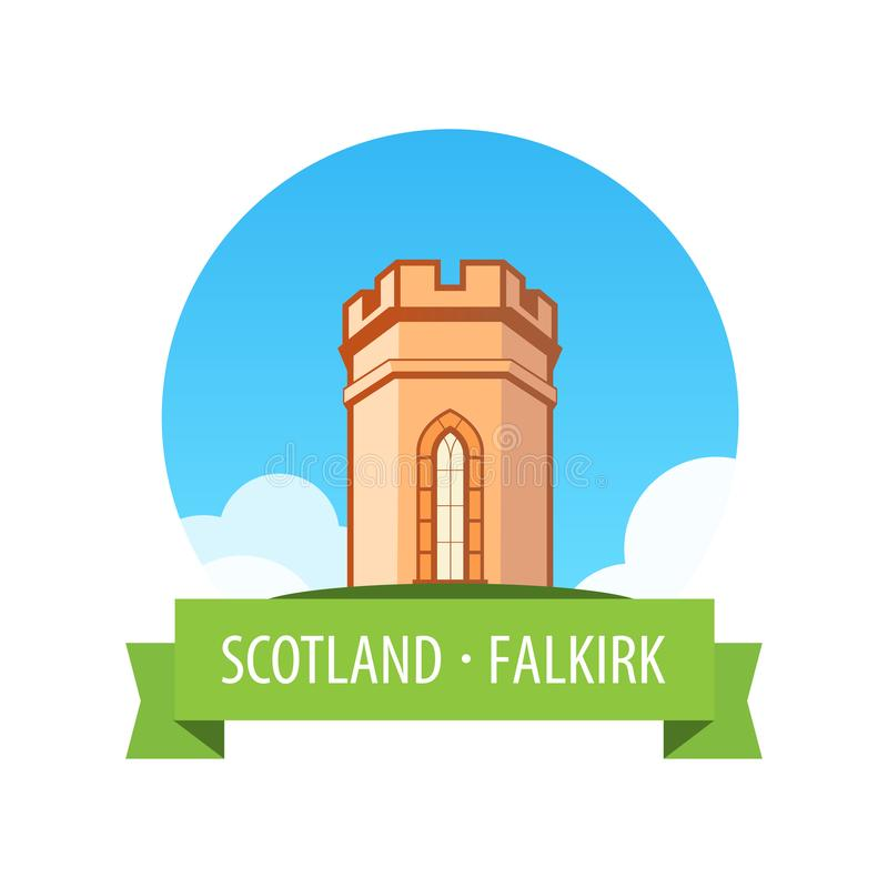 Emblem with European Castle in Sunny day - Falkirk, Scotland. Emblem with Medieval Castle in Falkirk, Scotland at sunny day under blue sky. Nice vector vector illustration