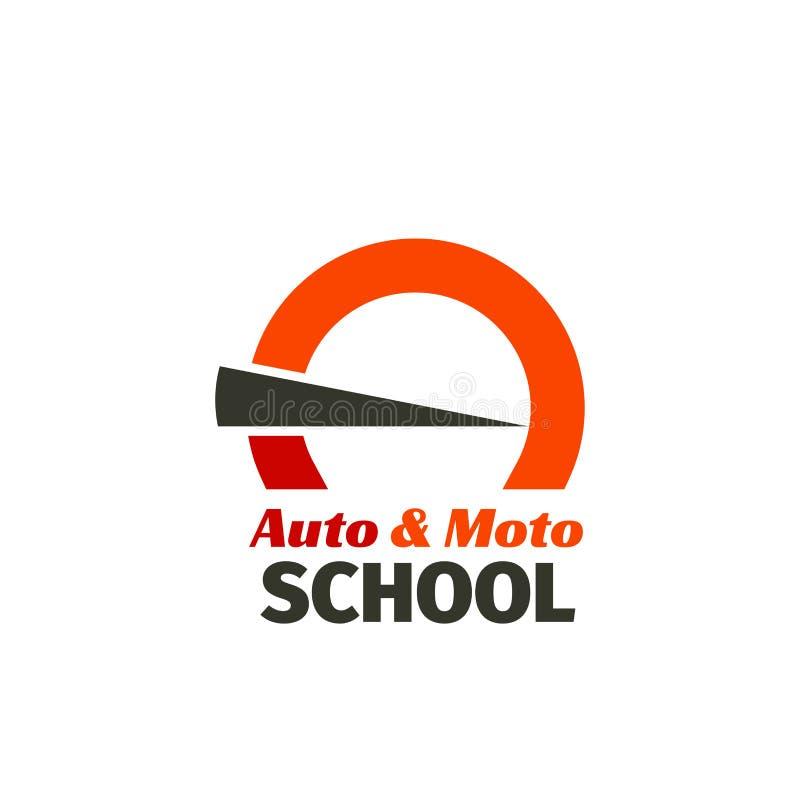 Emblem för automatiskkörskola stock illustrationer