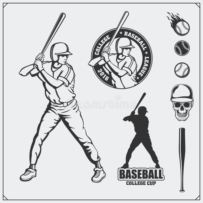 Emblem för baseballklubba, etiketter och designbeståndsdelar Basebollspelare, bollar, hjälmar och slagträn Basebollspelare boll,  royaltyfri illustrationer