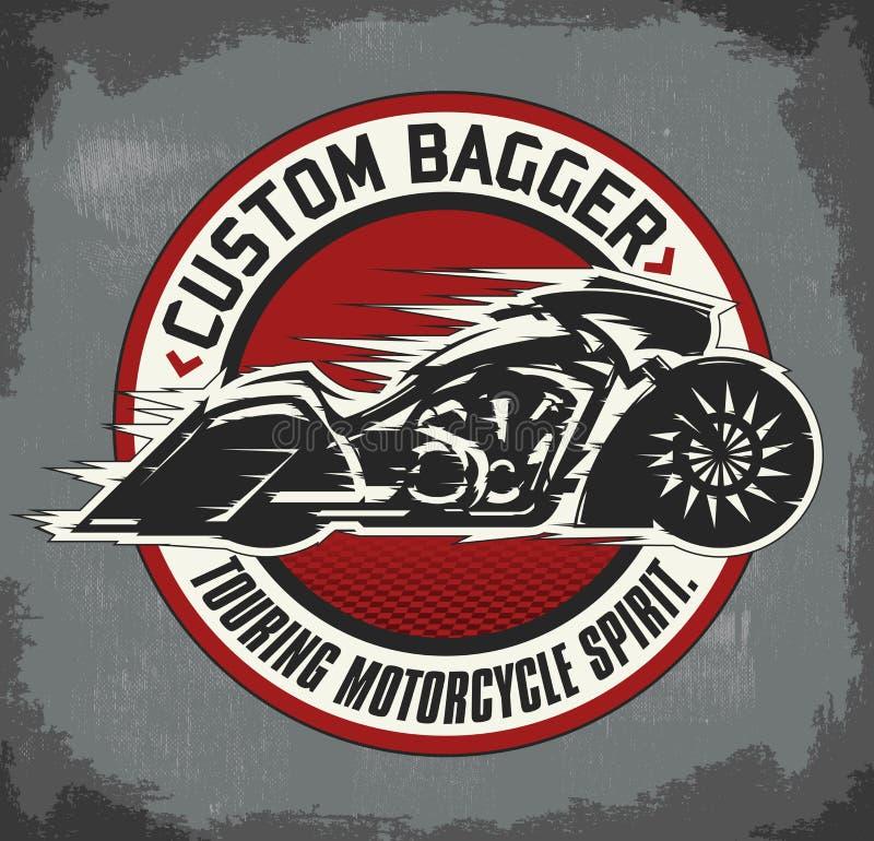 Emblem för beställnings- motorcykel för Bagger runt royaltyfri illustrationer