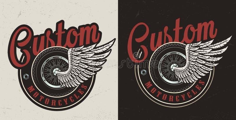 Emblem för beställnings- motorcykel för tappning färgrikt vektor illustrationer
