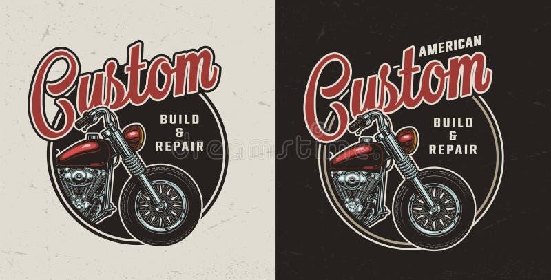 Emblem för beställnings- motorcykel för tappning färgrikt runt stock illustrationer