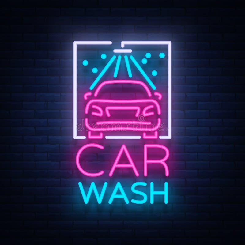 Emblem för biltvättlogodesign i illustration för neonstilvektor Mall begrepp, lysande tecken på temat av tvagningen stock illustrationer