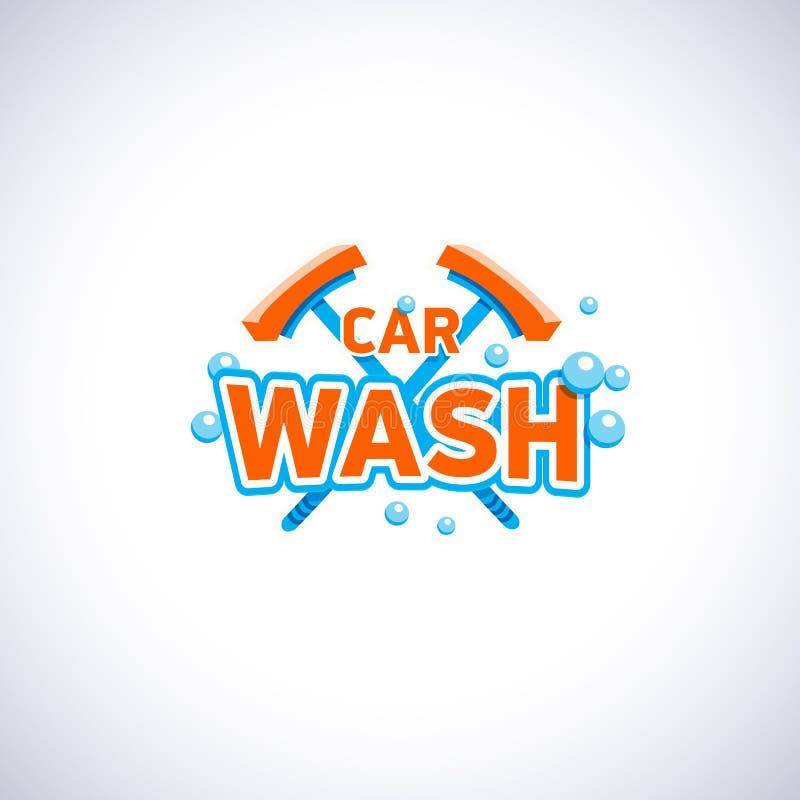 Emblem för biltvätttecknad filmstil med bubblor och golvmoppet, vektorlogomall Rengörande logotyp för tjänste- företag vektor illustrationer