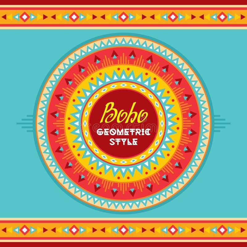 Emblem för Boho geometriskt stilcirkel abstrakt bakgrundsperson som tillhör en etnisk minoritet Stam- vektormodell Boho modestil vektor illustrationer