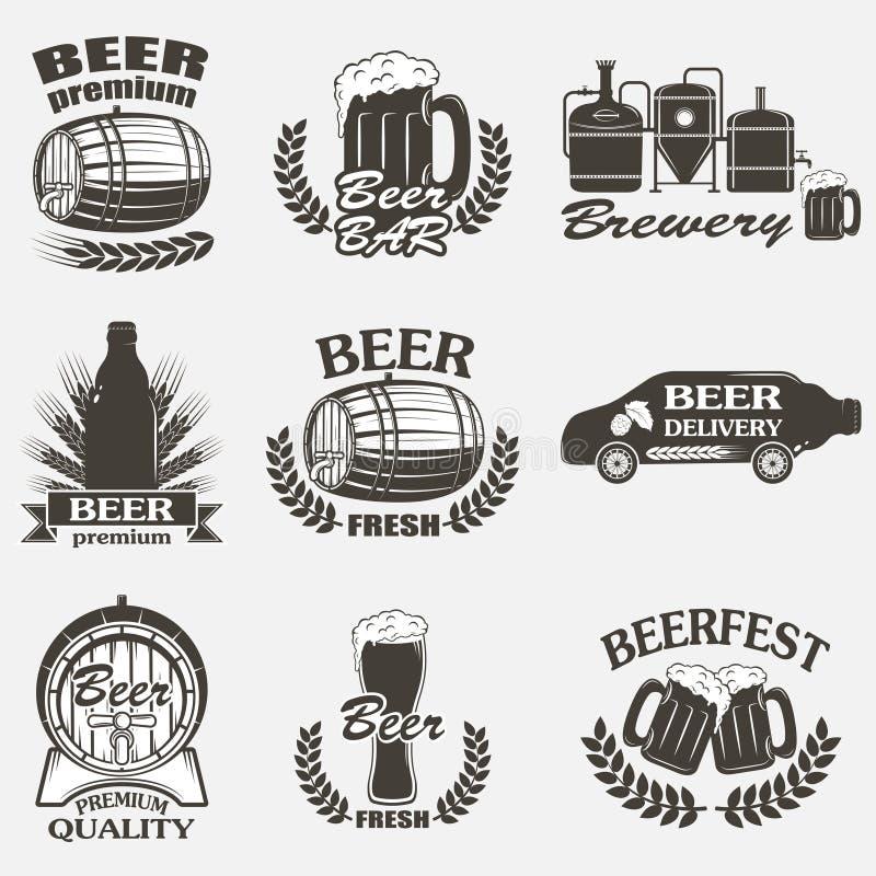 Emblem för bryggeri för tappninghantverköl vektor illustrationer