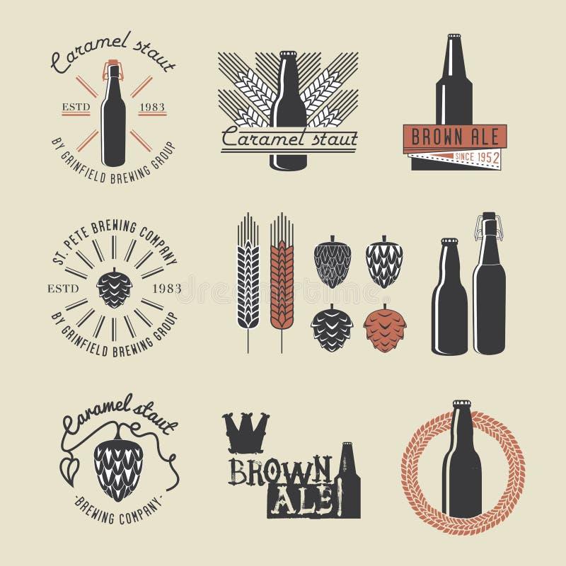 Emblem för bryggeri för tappninghantverköl royaltyfri illustrationer