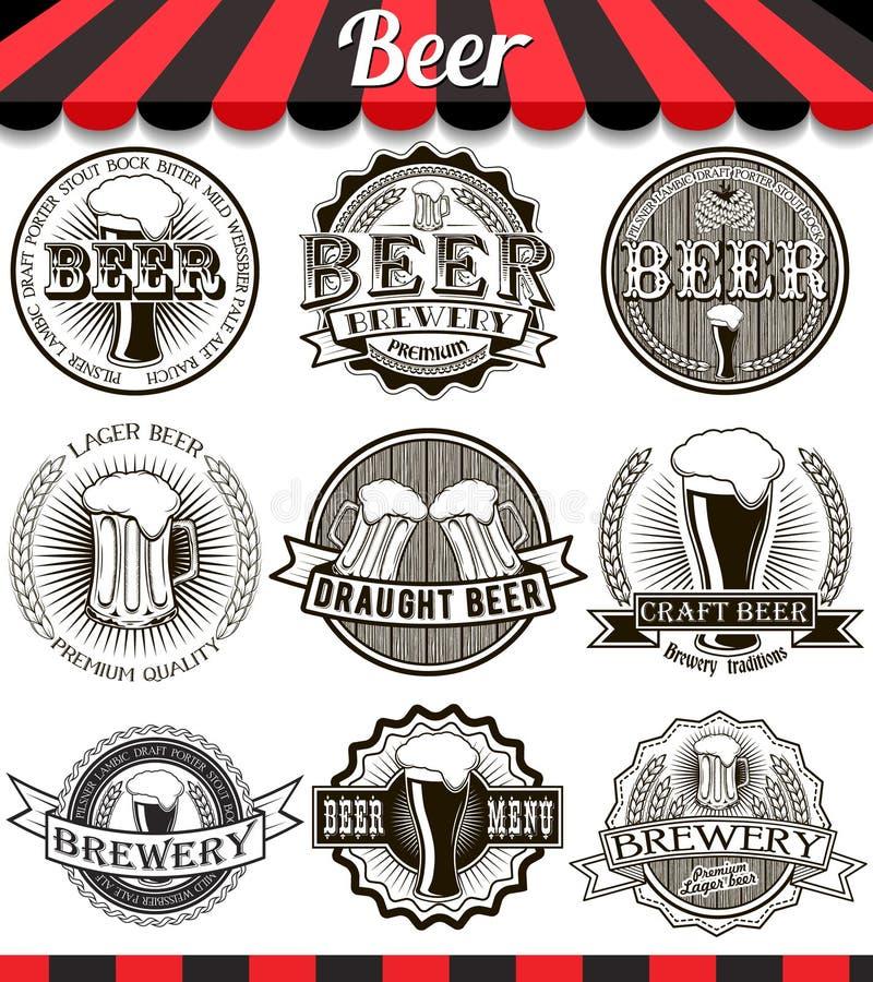 Emblem för bryggeri för tappninghantverköl, etiketter och designbeståndsdelar vektor illustrationer