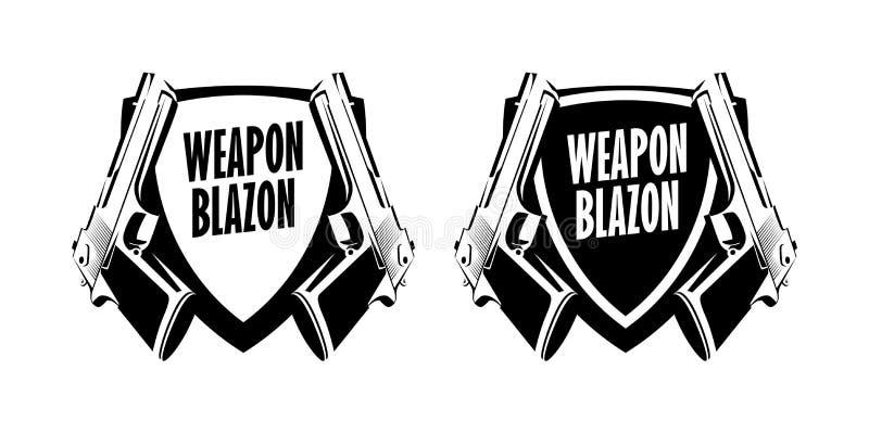 Emblem för etikett för pistolvapenlogo - vektoremblemillustration på vit bakgrund vektor illustrationer