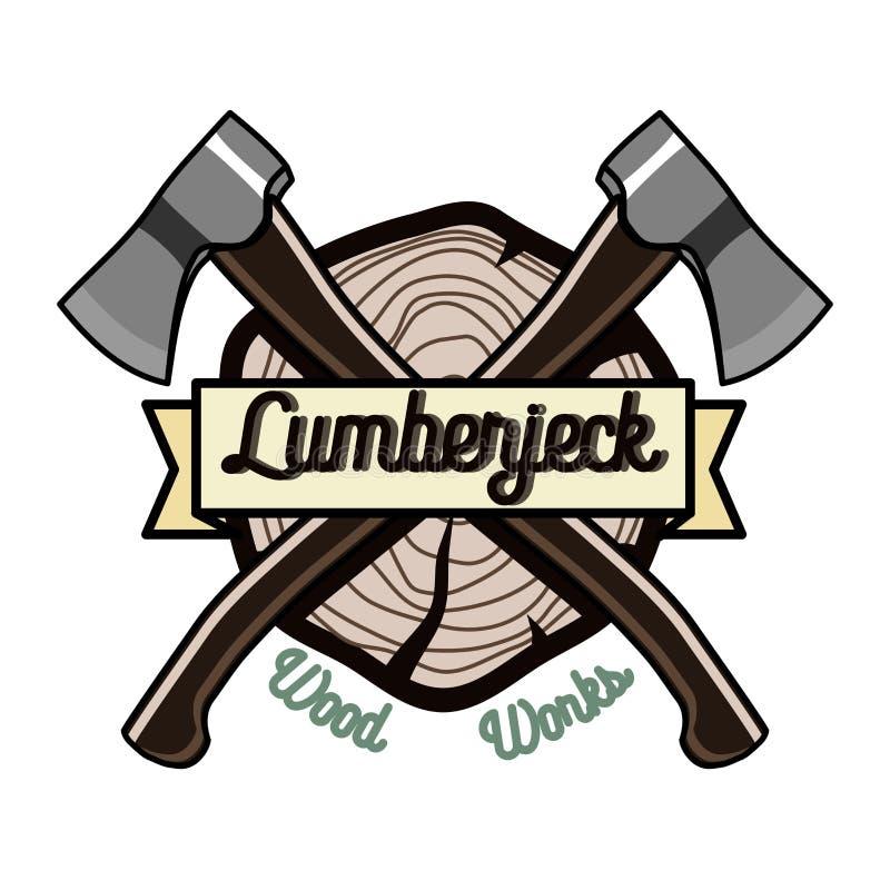 Emblem för färgtappningskogsarbetare stock illustrationer