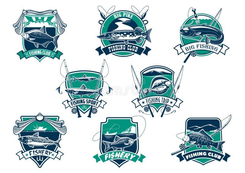 Emblem för fiskesportklubba med troféfisken stock illustrationer