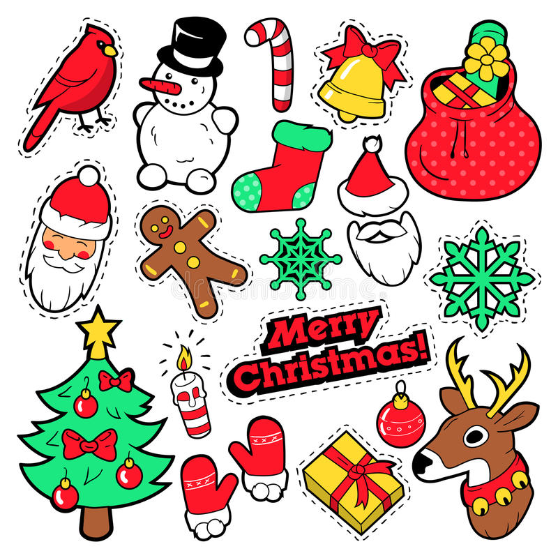 Emblem för glad jul, lappar, klistermärkear - Santa Claus, snögubbe, snöflinga, julgran i popet Art Comic Style royaltyfri illustrationer